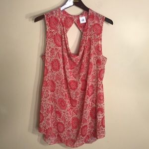 Cabi style #5037 sleeveless floral sheer top